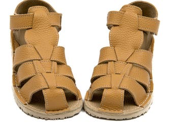 Ocher Kids Leather Sandals, Vibram sole, support barefoot walking, sizes EU 25/26 to 34 - US 9 to 3 kids