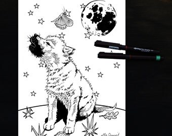 Wolfcub and Moon - a Kid's Coloring / Colouring Page by ellaquaint