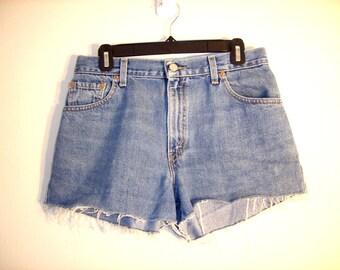 Vintage 1990s Levi Strauss High Waist Denim Shorts, Size Large