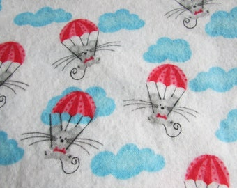 Parachuting mice, Extra large flannel receiving blanket, swaddling blanket, gender neutral, for baby boy or baby girl, reusable gift wrap