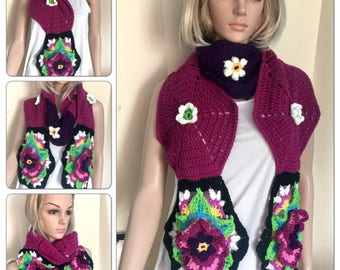 Womens unique scarf wrap teens circle cowl multicolour rainbow oversized neck warmer crochet hippie festival boho designer ooak poppy flower