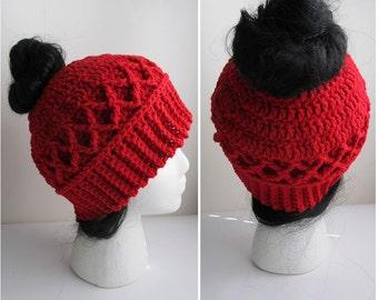Messy Bun Hat CROCHET PATTERN - Pattern for Crochet Ponytail Hat - Messy Bun Beanie Pattern - Knit Cable Messy Bun Hat for Thick Hair