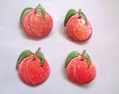 Sparkle Peach Embroidered Iron - On Applique, Peach, x 4, For Romantic, Children, & Victorian Crafts