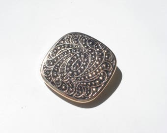 Vintage Clip On Damascene Scarf Ring  - Pinless Circle Rose Gold Brooch Slide - Costume Jewelry Brooch 1970s - West Germany