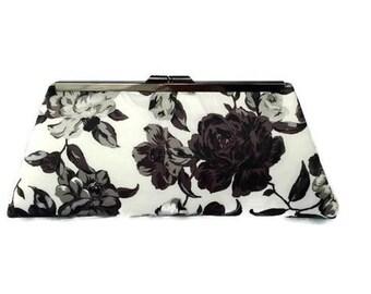 Black floral wedding clutch/Chic cottage wedding/Summer wedding accessory/ Custom made purse/Gift for her/ Bridesmaids gift idea/ Clutch