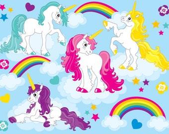 70% OFF SALE Unicorn Clipart - Digital Vector Unicorn Clipart, Pony Horse Clipart, Rainbow Clipart, Rainbow Cute Unicorns Clip Art