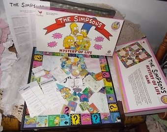"""The Simpsons Mystery Of Life 90, The Simpsons, Vintage Board Game, Board Game, Children""""s Board Game, cardinal,  Made USA, Recycled Paper)s*"""