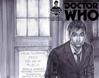 Comic Book Sketch Cover- Doctor Who the 10th doctor
