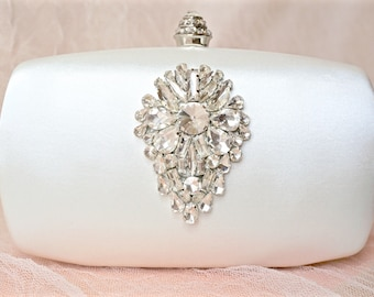 Ivory Satin Rhinestone Clutch,Ivory Bridal Clutch,Ivory Wedding Clutch,Ivory Crystal Clutch,Bridal Purse,Wedding Purse,Rhinestone Purse
