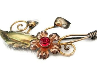 Vintage Van Dell Brooch Red Rhinestone Flower Sterling Silver 12K GF Pin 1940's Retro Floral Spray