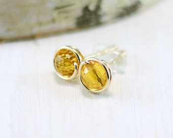 Citrine Earrings, 14k Gold Filled Yellow Citrine Stud Earrings Wire Wrapped Yellow Gold November Birthstone Post Earrings