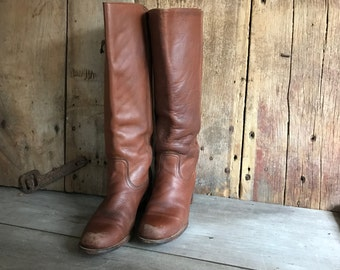 Frye Leather Riding Boots, Made in USA, Brown Knee High Campus Boots, Size 8,5 US