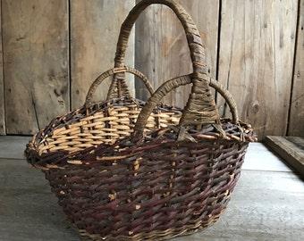 Rustic Wicker Market Basket, Gardening, Willow, Primitive, Rustic Country Farmhouse Chic, Large Flower Gathering Basket, Easter Basket