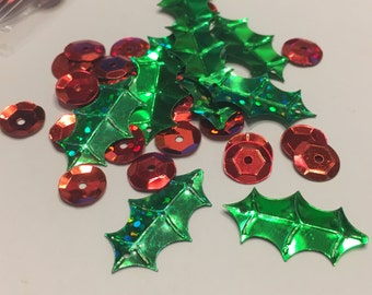 mix of Holly and Berry sequins, 9-24 mm (34)+