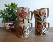 Retro Modern Bohemian Stoneware Floral Mug Set