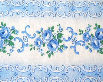 blue vintage french floral fabric vintage fabric patchwork quilting fabric  pillowcases antique fabric blue floral fabric 206