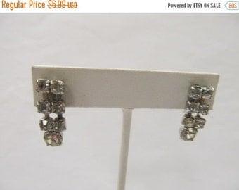 On Sale Vintage Prong Set Rhinestone Earrings Item K # 2709