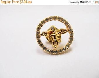 On Sale Vintage Prong Set Rhinestone Angel Pin Item K # 623