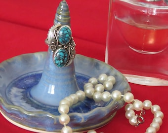 Ring Holder, Ring Dish, Blue Green  with Glass Accent