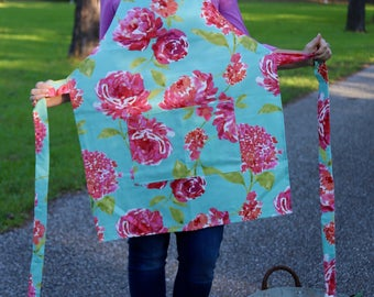 Pink and Blue Floral Apron