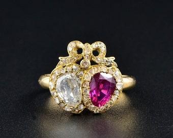 Rare Georgian Burmese ruby and diamond double heart ring