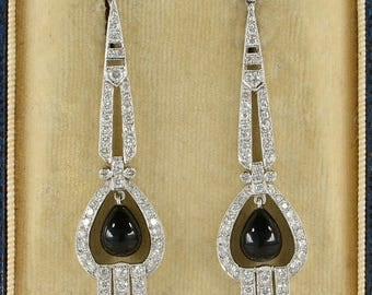 Art Deco black onyx and diamond long drop earrings