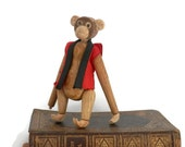 Mid Century Toy Monkey Teak Wood with Red and Black Cotton Vest Made in Japan