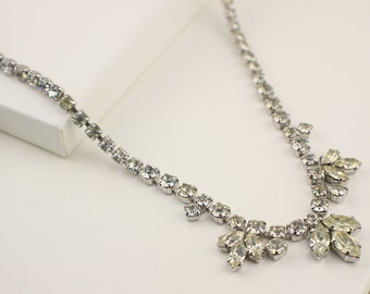 Vintage Clear Rhinestone Faceted 1960s Bridal Necklace with Leaf Drop Detail Front