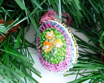 Easter Ornament Egg Ornament Beaded Egg Ornament Easter Decor Sequin and Bead Ornament  Christmas Ornament Bowl Filler Multi Colored