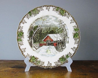 vintage dinner plate, decorative plates, Johnson Brothers, the friendly village, christmas tableware, the covered bridge
