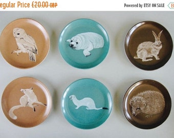 ON SALE Mid Century Melamine Coasters by Praesidium Ornamin - animals, fox, seal, hedgehog, owl, hare, barware