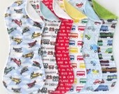 Transportation Burp Cloth Set of 6 in Terry and Flannel