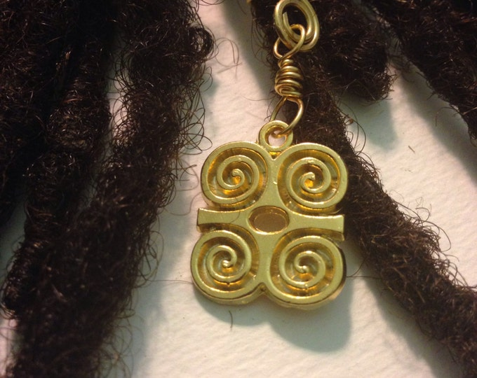Strength and Humility Dwennimmen African Adinkra Wire Wrapped Hair Bead Dread Locs Dreadlock Jewelry