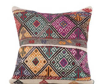 "22"" x 22"" Pillow Cover Kilim Pillow Vintage Kilim Pillow Hand Embroidered Pillow FAST SHIPMENT with ups or fedex - 10870"