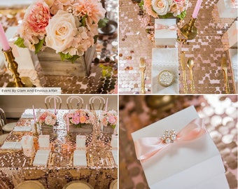 Sequin tablecloths, Rose Gold, Gold, Champagne, Silver, wedding, baby shower, quinceanera, sweet 16, wedding anniversary, bridal shower