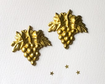 Vintage Brass Charms Stampings Grapes Pair