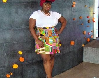 Colorful Multicolor Kente Patchwork African Print Wrap Skirt