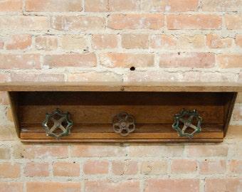 Upcycled Vintage Wood and Valve Handle Shelf/Coat Rack