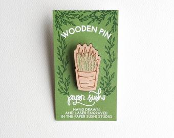 Succulent Wood Pin - pin game - aloe vera pin - potted plant pin - succulent plant pin - flair - cherry wood pin - hardwood pin - T0006