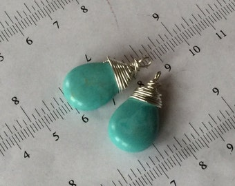 2pcs-25mm teal turquoise teardrop beads, blue turquoise, briolette, hand wired silver wire, natural stone, pendant, focal point necklace,