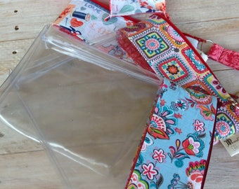 Knitting Project Notion Clear Zip Notion Bag- Many Fabric Choices!