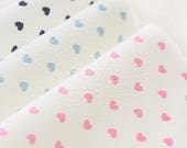 RESERVED - Waterproof Fabric Hearts - Pink, Sky or Navy - By the Yard 49323