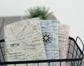 Navigational Map Cotton Fabric - Gray, Blue or Red Purple - By the Yard 95500