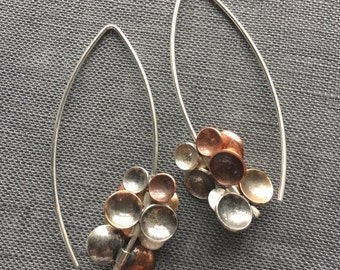 Tiny Disc Bead Earrings // Contemporary Earrings // Mixed Metal