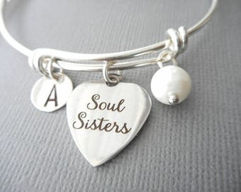 Pearl, Soul Sisters -Initial Bangle/ soul sister bracelets, soul sister charm bracelet, soul sisters bracelet, soul sisters bracelets