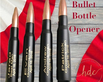 Valentines Day Gift, Gift for Him,  One Engraved Black .50 Cal Bullet Personalized Bottle Openers.Dad Gift.