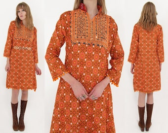 Vtg 70s Ethnic Embroidered Folk Dress M