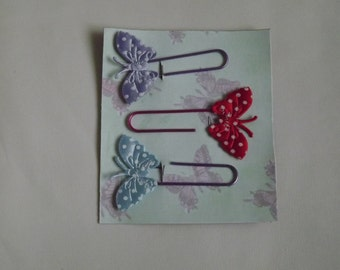 decorative paperclips with fabric butterflies great for journals, planning and organising