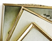 Vintage, 1950s Frame Collection, Set of 3, Gold Tone 8x10 Frames, Raised Relief Garland Decoration