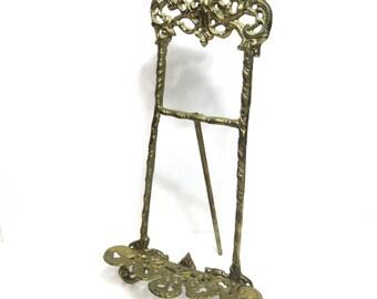 "Ornate Brass 15"" Easel, Desk Top Brass Filigree Easel, Rococo Style"